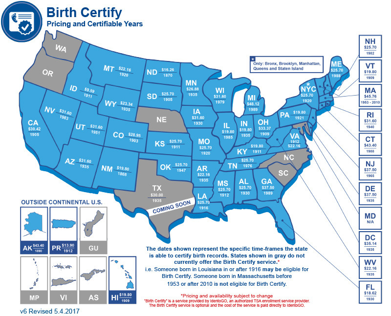 Business Connections Birth Certification Map 2017